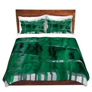 Artistic Duvet Covers and Shams Bedding | Julia Di Sano - Balancing Act Green | Abstract