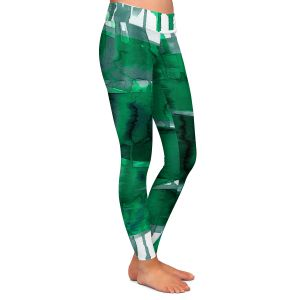 Casual Comfortable Leggings | Julia Di Sano - Balancing Act Green | Abstract