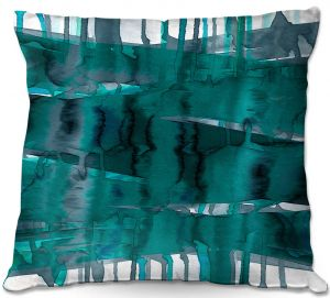 Decorative Outdoor Patio Pillow Cushion | Julia Di Sano - Balancing Act Teal | Abstract