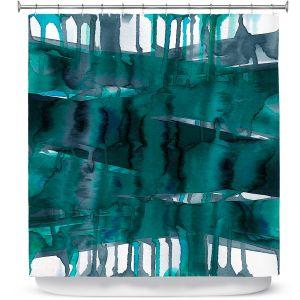 Premium Shower Curtains | Julia Di Sano - Balancing Act Teal | Abstract