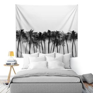 Artistic Wall Tapestry | Julia Di Sano - Beach Palms Greyscale | Beach Ocean Trees Nature