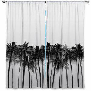 Decorative Window Treatments   Julia Di Sano - Beach Palms Greyscale   Beach Ocean Trees Nature