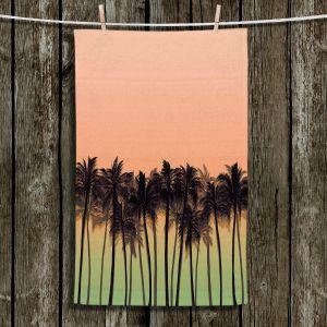 Unique Hanging Tea Towels | Julia Di Sano - Beach Palms Peach Moss | Beach Ocean Trees Nature