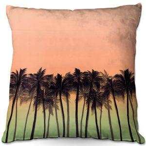 Decorative Outdoor Patio Pillow Cushion   Julia Di Sano - Beach Palms Peach Moss   Beach Ocean Trees Nature