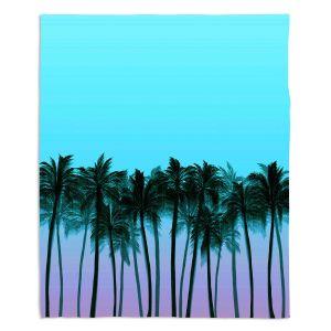 Decorative Fleece Throw Blankets | Julia Di Sano - Beach Palms Sky Purple | Beach Ocean Trees Nature