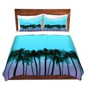 Artistic Duvet Covers and Shams Bedding | Julia Di Sano - Beach Palms Sky Purple | Beach Ocean Trees Nature