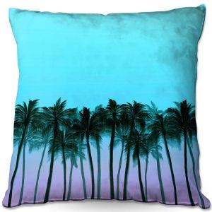 Decorative Outdoor Patio Pillow Cushion   Julia Di Sano - Beach Palms Sky Purple   Beach Ocean Trees Nature