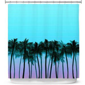 Premium Shower Curtains   Julia Di Sano - Beach Palms Sky Purple   Beach Ocean Trees Nature