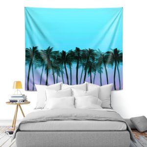 Artistic Wall Tapestry   Julia Di Sano - Beach Palms Sky Purple   Beach Ocean Trees Nature