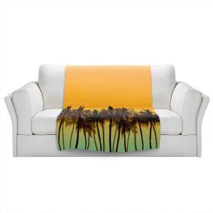 Artistic Sherpa Pile Blankets   Julia Di Sano - Beach Palms Tangerine   Beach Ocean Trees Nature