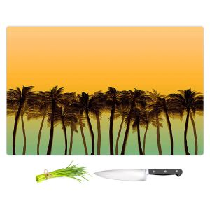 Artistic Kitchen Bar Cutting Boards | Julia Di Sano - Beach Palms Tangerine | Beach Ocean Trees Nature