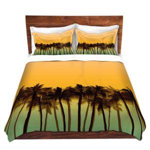 Artistic Duvet Covers and Shams Bedding | Julia Di Sano - Beach Palms Tangerine | Beach Ocean Trees Nature