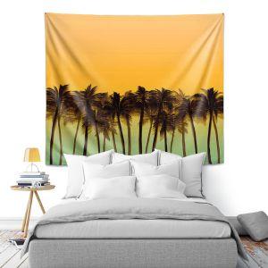Artistic Wall Tapestry | Julia Di Sano - Beach Palms Tangerine | Beach Ocean Trees Nature