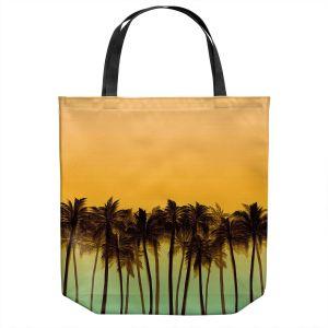 Unique Shoulder Bag Tote Bags | Julia Di Sano - Beach Palms Tangerine | Beach Ocean Trees Nature