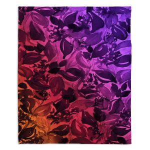 Decorative Fleece Throw Blankets | Julia Di Sano - Blossoms Unchained Purple Red