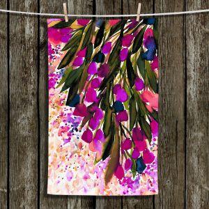 Unique Hanging Tea Towels | Julia Di Sano - Botanical Regency II Fuchsia Green | Flowers Colorful Unique