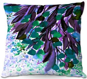 Unique Throw Pillows from DiaNoche Designs by Julia Di Sano - Botanical Regency IV Teal Purple   16X16
