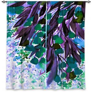 Unique Window Curtains Unlined 60w x 82h from DiaNoche Designs by Julia Di Sano - Botanical Regency IV Teal Purple