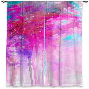 Unique Window Curtains Unlined 40w x 61h from DiaNoche Designs by Julia Di Sano - Carnival Dreams Pink Purple
