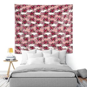 Artistic Wall Tapestry | Julia Di Sano - Chevron Roses 1 | nature pattern flower