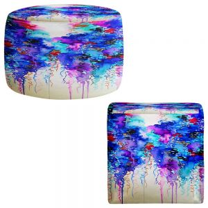 Round and Square Ottoman Foot Stools | Julia Di Sano - Cloudy Day I