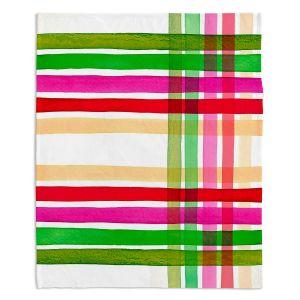Decorative Fleece Throw Blankets | Julia Di Sano - Colorful Plaid Stripes I