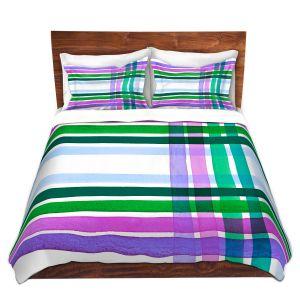 Artistic Duvet Covers and Shams Bedding | Julia Di Sano - Colorful Plaid Stripes II