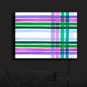 Nightlight Sconce Canvas Light | Julia Di Sano - Colorful Plaid Stripes II | Plaid Colorful Pattern