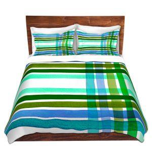 Artistic Duvet Covers and Shams Bedding | Julia Di Sano - Colorful Plaid Stripes III