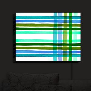 Nightlight Sconce Canvas Light | Julia Di Sano - Colorful Plaid Stripes III | Plaid Colorful Pattern