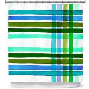 Premium Shower Curtains | Julia Di Sano - Colorful Plaid Stripes III