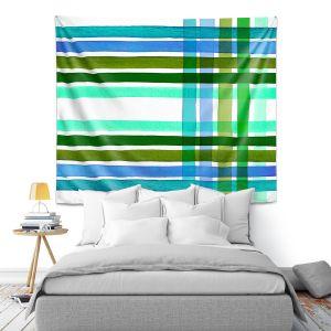 Artistic Wall Tapestry   Julia Di Sano - Colorful Plaid Stripes III