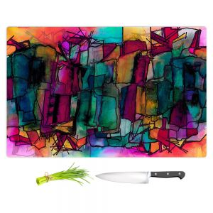 Artistic Kitchen Bar Cutting Boards   Julia Di Sano - Facets of The Self 1   Abstract Stained Glass