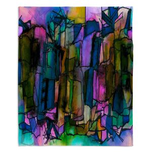 Artistic Sherpa Pile Blankets | Julia Di Sano - Facets of The Self 2 | Abstract Stained Glass