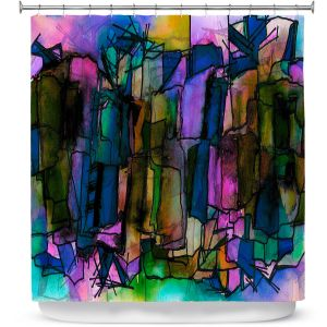 Premium Shower Curtains | Julia Di Sano - Facets of The Self 2 | Abstract Stained Glass