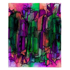 Decorative Fleece Throw Blankets | Julia Di Sano - Facets of The Self 5 | Abstract Stained Glass