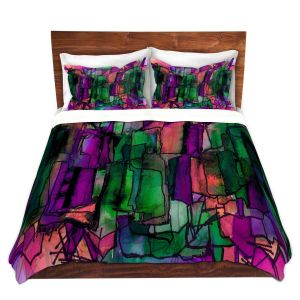 Artistic Duvet Covers and Shams Bedding | Julia Di Sano - Facets of The Self 5 | Abstract Stained Glass
