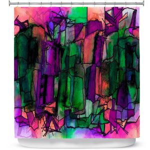 Premium Shower Curtains | Julia Di Sano - Facets of The Self 5 | Abstract Stained Glass