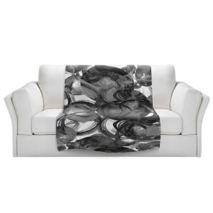 Artistic Sherpa Pile Blankets | Julia Di Sano - Final Eclipse Grey Black | Abstract
