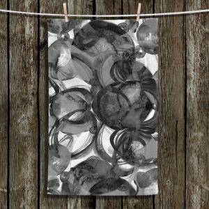 Unique Hanging Tea Towels | Julia Di Sano - Final Eclipse Grey Black | Abstract