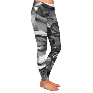 Casual Comfortable Leggings | Julia Di Sano - Final Eclipse Grey Black | Abstract