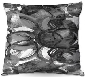 Decorative Outdoor Patio Pillow Cushion | Julia Di Sano - Final Eclipse Grey Black | Abstract