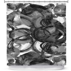 Premium Shower Curtains | Julia Di Sano - Final Eclipse Grey Black | Abstract