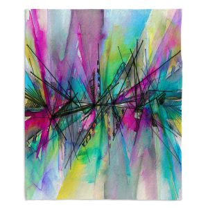 Decorative Fleece Throw Blankets | Julia Di Sano - Finding Balance 1 | Abstract Lines Water Color