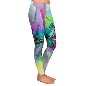 Casual Comfortable Leggings | Julia Di Sano - Finding Balance 1 | Abstract Lines Water Color