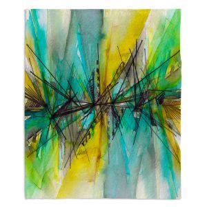 Decorative Fleece Throw Blankets | Julia Di Sano - Finding Balance 2 | Abstract Lines Water Color