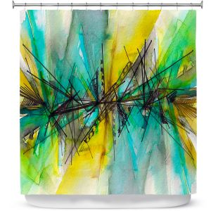 Premium Shower Curtains | Julia Di Sano - Finding Balance 2 | Abstract Lines Water Color
