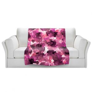 Artistic Sherpa Pile Blankets | Julia Di Sano - Floral Spray 14 | flower pattern abstract petal