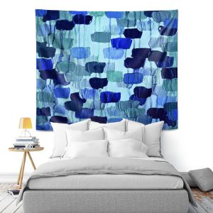 Artistic Wall Tapestry | Julia DiSano Flower Brush Blue