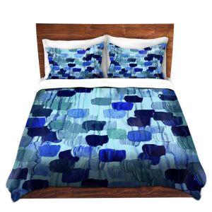 Artistic Duvet Covers and Shams Bedding | Julia Di Sano - Flower Brush Blue